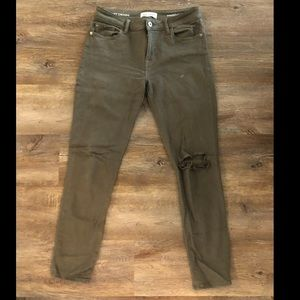 DL1961 army green instasculpt ankle skinny jeans